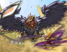 Ganondorf vs. the Helmaroc by Iroas