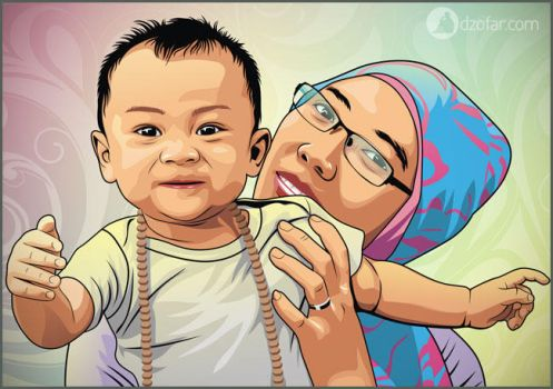 Baby and Mom Vector by ndop