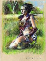 Completed female barbarian study 001 by KurtBrugel
