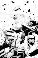 MTMTE#23 Soundwave vs. Bumblebee Cover b/w by EJ-Su
