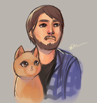 Dude and his cat. by arseniic