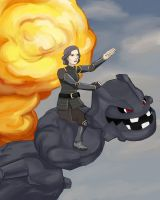 Korra: Lin on a Steelix by haleliwil