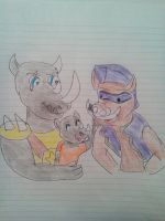 tmnt 2012 Rocksteady with son and bebop by aliciamartin851