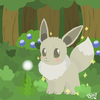Shiny Eevee with dandelion. by Ishisu