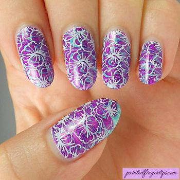 Water-marble-flower-stamping by Painted-Fingertips