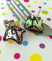 Miniature Ice Cream and Waffle charms by KrystalsTinyCakery