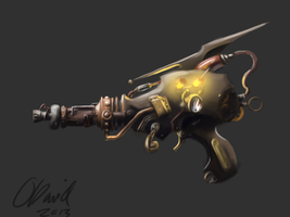 Steampunk Raygun by duh-veed