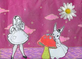 alice and the hiding rabbit by DarkDevi