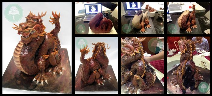 Making/Destruction of 3D Chinese Dragon Cake by Sliceofcake