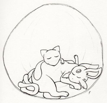 Pokecember Day 9: Mew and Espeon by Between-the-Stars