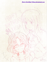 Birthday Gift  for Megumi-Rika (Sketch) by KaoruAmethyst-Chan