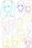 Vocaloid Headshot Sketches by Starfruity2009