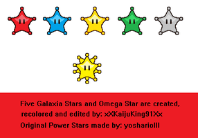 Five Galaxia Stars and Omega Star sprites by KingAsylus91