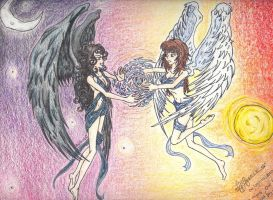 Two angels, One light by AnGuieO