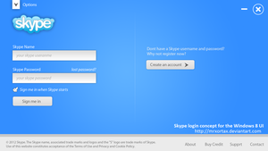Skype Login Concept for Windows 8 UI by MrXortax