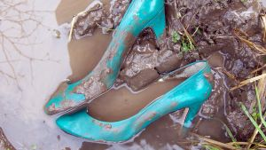 Once Pretty, Now Ruined Muddy Turquoise High Heels by peerlesspenny
