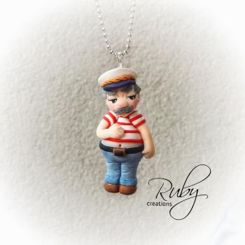 Cute chubby sailor, polymer clay necklace by Ruby-creations