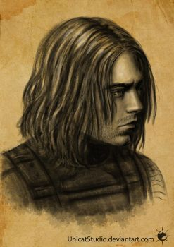 Bucky face sketch 02 by UnicatStudio