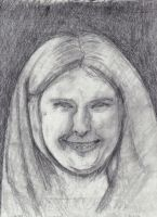 Colleen Camp portrait sketch with 2B graphite.. by FuzzyMonkeyMan