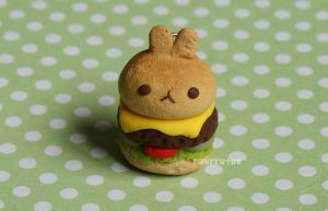 Bunny Burger Clay Charm by RawrRufus