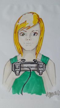Young girl gamer, Markers by AmyTheStrange1