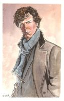Benedict Cumberbatch Sherlock Holmes Watercolor... by ssava