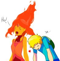 Flame Princess and Finn by ZariFkun