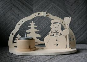 Snowman ~ Candle holder by ginkgografix