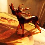 Glass Figurine of Elk on Decorative Tin by MystMoonstruck