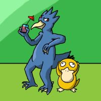 Psyduck, Golduck by Kame-Ghost