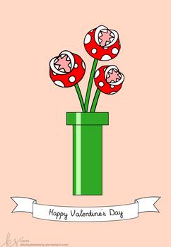 Mario Piranha Plant Bouquet Valentine's Day Card by allonsykimberly