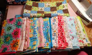 Lovies And Quilt Ready For Top Stitching 10-20 by wiccanwitchiepoo