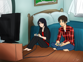 Playing Video Games Eren x Veena - MEME ART by Vhenyfire