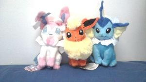 My Sylveon, Flareon and Vaporeon Plushies! by TheTrueSurvivor
