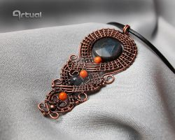 Wire wrapped copper pendant with agate bead by artual