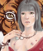 The Girl with the tiger by Tifaerith