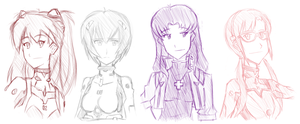 Evangelion Girls by Deathbringer22