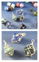 Wrapped Dice Pendants by WireMySoul