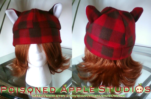 Red Plaid Kitty Fleece Hat by kuramachan