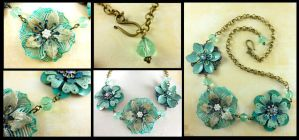 Antique Brass Turquoise Flower Chain Necklace by DryGulchJewelry