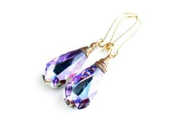 Swarovski Vitrail Light Crystal Kidney Earrings by crystaland