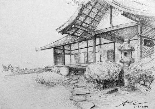 Traditional Japanese House sketch by AoiCancerius