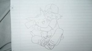Ash and Pikachu Sketch by JanetAteHer