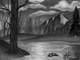 Landscape Drawing by DirtyD41