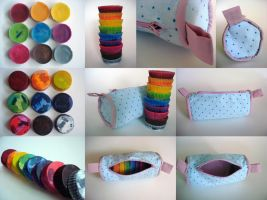 Recycled Crayons + Pencil Case by l0rraine