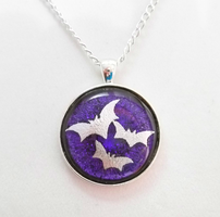 Double Dichroic Bats Pendant by HoneyCatJewelry