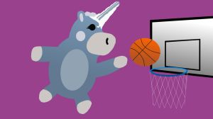 A Balloonicorn playing basketball by TheDrifterWithin