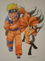 Naruto and Nine Tails by Bean056