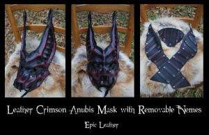 Commission: Crimson Leather Anubis Jackal Mask by Epic-Leather