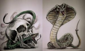 Skull and Snake Tattoo designs by TamiTw